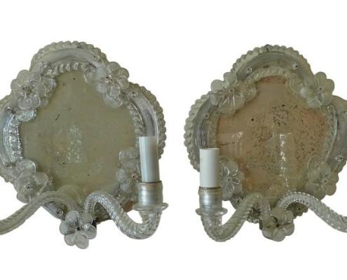 Pair Venetian Murano mirrored sconce